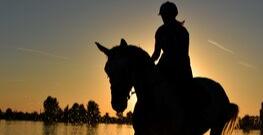 Paardrijden zonsondergang